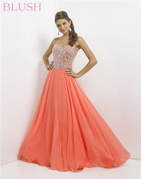 Sweetheart Iridescent Stones Top Chiffon Blush 9758 Long Prom Gowns For Sale