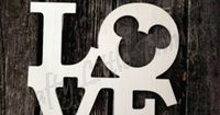 MOUSE Stacked wooden letters - LOVE with mouse ears unpainted - comes in sizes from 8 inches to 24 inches - item arrived quickly & was very nicely sanded & ready to paint! :D