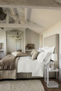 Neutral geige beige grey gray bedroom. Although it has amazing architecture, most of the elements would still be beautiful in a smaller or simpler space such as the bedding, colors, accessories.