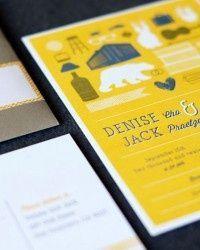 Modern Yellow Wedding Invitations