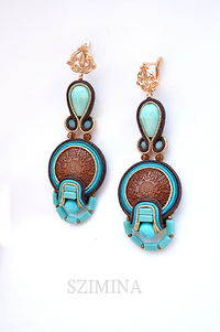Soutache earrings, brown and turquoise earrings $27.00