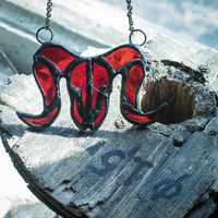 Red stain glass aries skull necklace, zodiac necklace, viking costume, wiccan magic jewelry $34.00