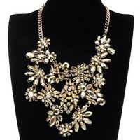 Fashion Jewelry Chain Golden Rhinestone Acrylic Choker Statement Pendant Bib Necklace
