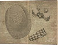 Wooden Working Wood Print | Above view of still life of checked hat,tie and binoculars on black and white newspaper | #homeofficedecor #vintagedetective #privateeye #antiqueart #officeideas #oldstyle #nostalgicart #stilllifewallart #stilllifeart #objectar...