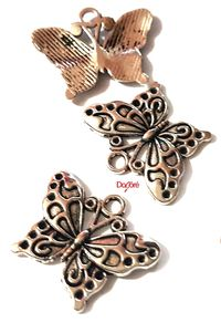 CLEARANCE Pack of 50 Silver Coloured Butterfly Charms. 20mm x 25mm Nature Theme Metal Pendants £10.99