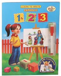 Learn to Write Catholic 123 from Catholic Book Publishing will help children learn about their Catholic Faith as they learn to write their numbers. The Wipe and Clean feature allows children to practice repeatedly.