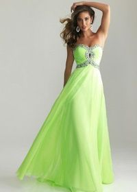 Long Lime Keyhole Sequined Crisscross Top Prom Dresses 2014