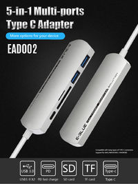 Universal 5 in 1 Type-c to Dual USB 3.0 PD Fast Charge TF Memory SD Card Reader Adapter HUB
