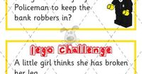 "2 Lego challenge cards - This would be great with a ""Lego my Lego"" program. Create challenge cards to help use their imagination."