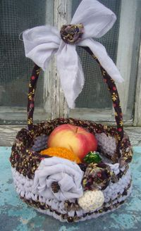 Easter fabric crocheted basket
