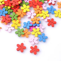 CLEARANCE Pack of 100 Cute Wood Flower Shape Buttons. 15mm Diameter. Wooden Nature Theme £4.79