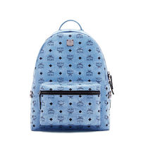 MCM Medium Stark Side Odeon Studded Backpack In Washed Blue
