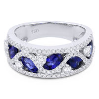 2.35ct Oval Cut Sapphire & Round Diamond Pave Thick Statement Band in 18k White Gold