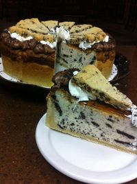 Cookie jar cheesecake. Sugar cookie crust, oreo filling, topped with chocolate chip cookie. YUM!