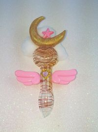 """""""Angelic Moon and Star Pipe Glass Spoon Pipe by PrettyPipesShoppe"""" weed cannabis tobacco smoke 420 girly women's pipe"""