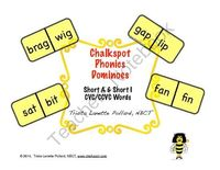 Phonics Dominoes: Short A and Short I, CVC/CCVC Words from Chalkspot.com on TeachersNotebook.com - (9 pages) - Great short vowel domino activity that you can use in your literacy center! They also conveniently fit into Crystal Light' plastic c...