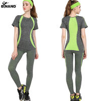 Stretch Stripe High Elastic Women Yoga Sets Exercise Sportswear Fitness Running Suits $28.58
