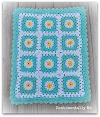 SentimentallyMe: Aqua/turquoise, white and yellow - granny square crochet blanket with daisy motif