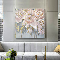 Abstract Floral Paintings on Canvas Gold leaf original art Wall Pictures Rose painting home Decor cuadros abstractos framed wall art $179.00