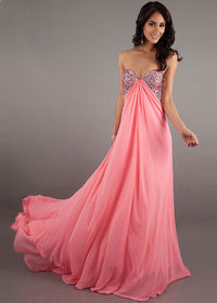 Beaded Top Coral Long Draped Chiffon Prom Dress