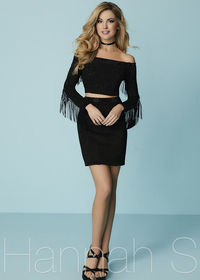 Fitted Two Piece Off The Shoulder Beaded Suede Fringe Black Cocktail Dress