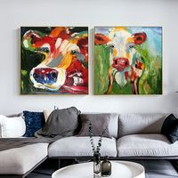 Set of 2 wall art cow painting Pet Portrait animal oil paintings On Canvas Original framed Wall art Pop Art palette knife Wall pictures $149.00