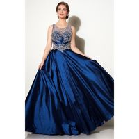 Navy Studio 17 12644 - Ball Gowns Sleeveless Long Sheer Dress - Customize Your Prom Dress