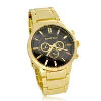 Men's Extra Large Gold Plated Black Face Round Bezel Hip Hop Fashion Bling Watch £29.95
