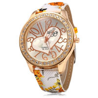 Female Casual Quartz Watch Leather Strap Big Arabic Numeral Scales Heart Decoration $20.00