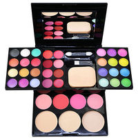 24 COLORS EYE SHADOW PALETTE MAKEUP KIT BLUSHER BRUSH POWDER PUFF