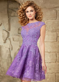 Cute Illusion Beaded Lace Cap Sleeves Keyhole Back Lilac Cocktail Dress