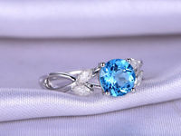 7mm London Blue Topaz Engagement ring Natural Topaz Promise Ring With Floral Design Moissanite Matching Band Personalized Custom ring $418.00