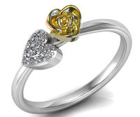 Ultimate Yellow Flower Engagement Ring Two Tone Yellow & White Heart Ring Minimalist Floral ring Birthday Gift For Her Love Gift $375.00