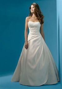 Gown features sequins, rhinestones, and crystal beading. Silhouette: A-Line Neckline: Strapless Waist: Asymmetric, Empire Gown Length: Floor Train Style: Attached Train Length: Semi-Cathedral Fabric: Satin Embellishments: Beading Color: White, Ivory, or L...