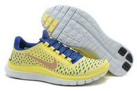 Womens Nike Free 3.0 V4 Running Sneakers Electric Yellow Deep Royal Blue Summit White