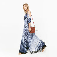 Blue White Ombre Watercolor Printed Maxi Beach Dress