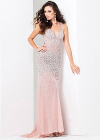 Ice Pink Straps Beaded Keyhole Back Fitted Prom Dress 2015