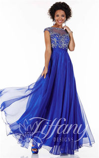 Tiffany 16062 Sparkly High Neck Long Prom Dresses 2015