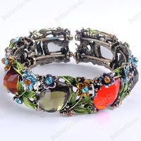 Vintage Motley Faceted Resin Teardrop Flower Leaf Hinged Bracelet Bangle Gift