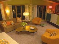 70's retro living room-my husbands worst nightmare---I would love a room like this in my house! I remember that coffee table. Very popular. I love this room but I would put more mocha brown and sage green tones instead of so much yellow and orange on ...