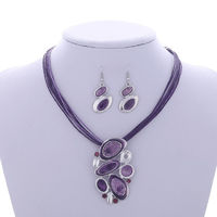 Pendant necklace Leather Rope Chain Jewelry set $7.17