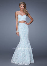 White Mint Lovely Two Piece Strapless Lace Mermaid Long Prom Dress