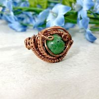 Wire Wrapped Ring, Mens Copper Wire Wrapped Jewelry, Boho Gemstone Ring $51.00
