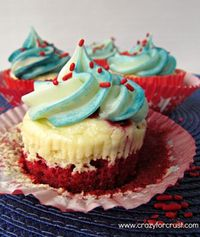 Red Velvet Cheesecake 4th of July Cupcakes http://www.crazyforcrust.com/2012/06/red-velvet-cheesecake-cupcakes/