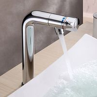Contemporary Brass Bathroom Sink Faucet with Revolvable Spout (Tall)