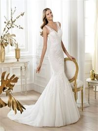 Perfect off shoulder v-neck court train mermaid lace wedding dress