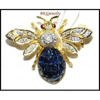 Natural Diamond 18K Yellow Gold Blue Sapphire Bee Brooch/Pin [I 019]