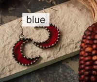 Crescent Moon blue Earrings $22.00
