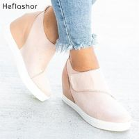 HEFLASHOR Women Casual Shoes 2019 New Women Sneakers Fashion Breathable PU Leather Platform White Women Shoes Soft Footwears $50.00