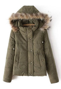 Sweet Candy Colors Drawstring Hooded Thick Padded Jacket Short Coat